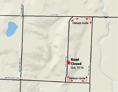 Axlund Rd Culvert Closure detour route